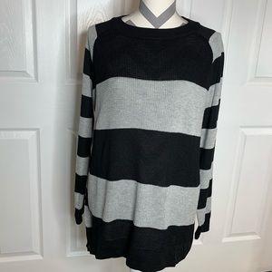 Oversized Striped Knit Tunic Sweater